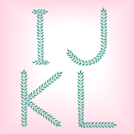 I, G, K,L. Vector green alphabet set of eco letters logo with leaves