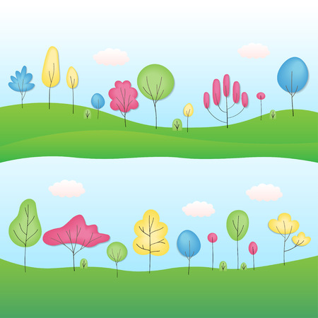 Summer landscape with forest, blue cloudy sky, green grass and trees. Flat design vector illustration