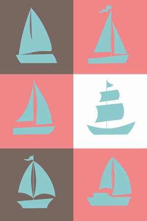 Set of six sailing ship silhouettes isolated located in square sections. Vector Illustration Illustration