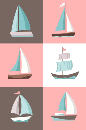 Set of six sailing ship types isolated located in square sections. Vector Illustration
