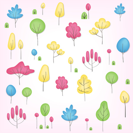 Colorful seamless pattern of different trees and bushes. Vector forest illustration over white background. Simple cartoon flat style Illustration