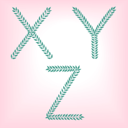 X, Y, Z. Vector green alphabet set of eco letters logo with leaves
