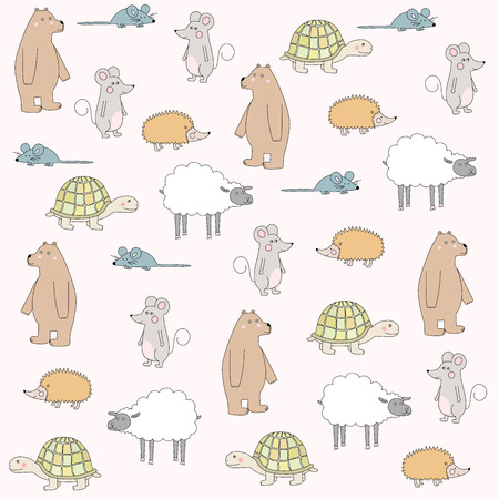 Cute cartoon animals seamless pattern over white.Bear, sheep, mouse, hedgehog, turtle. Vector illustration