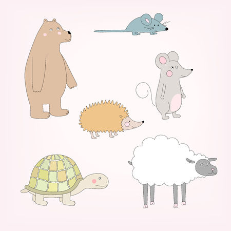 Set of happy cartoon animals. Bear, sheep, mouse, hedgehog, turtle. Vector illustration Stock Vector - 81083967