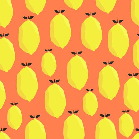 Helder gele citroenen op oranje achtergrond. Vector naadloos patroon.