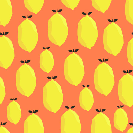Bright yellow lemons on orange background. Vector seamless pattern.