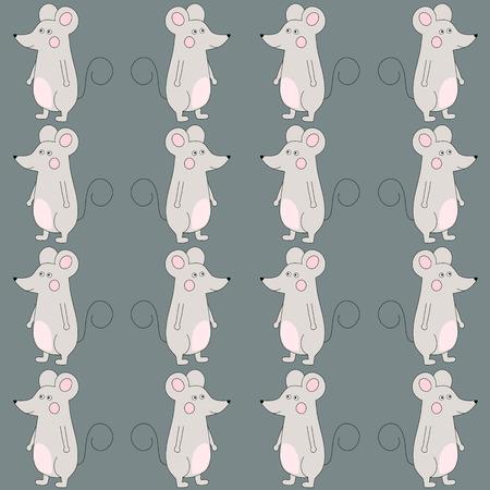 회색 통해 행복 귀여운 만화 마우스 원활한 패턴입니다. 벡터 일러스트 레이 션 일러스트