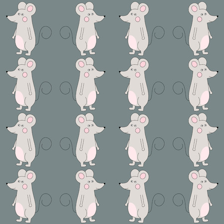 Happy cute cartoon mouse seamless pattern over gray. Vector illustration