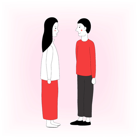 Full length hand drawn man and woman standing and looking at each other isolated. Vector illustration Illustration