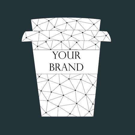 귀하의 브랜드 이름을위한 여유 공간이있는 컵을 가져 가십시오. 블랙 위로 추상 패턴입니다. 벡터 일러스트 레이 션