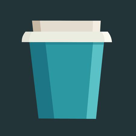 검은 색 배경 위에 브랜드 이름에 대한 여유 공간이있는 컵을 가져 가십시오. 벡터 일러스트 레이 션 일러스트