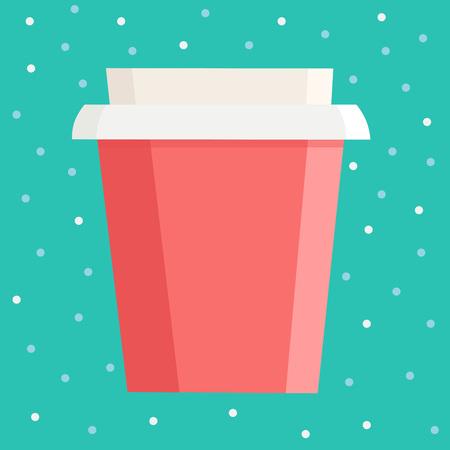 파란색 점 배경 위에 브랜드 이름을위한 여유 공간이있는 컵을 가져 가십시오. 벡터 일러스트 레이 션