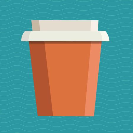 파란색 배경 위에 브랜드 이름을위한 여유 공간이있는 컵을 가져 가십시오. 벡터 일러스트 레이 션 일러스트
