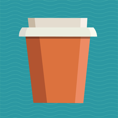 Take away cup with free space for your brand name over blue background. Vector illustration