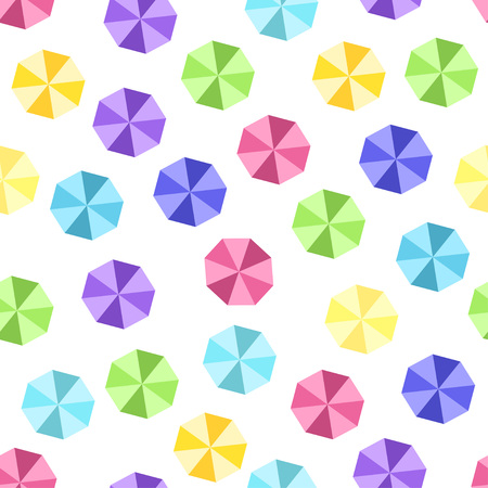 Top view of colorful umbrella pattern over white. Vector illustration Illustration