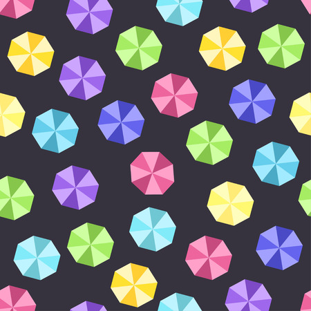 Top view of colorful umbrella pattern over black background. Vector illustration