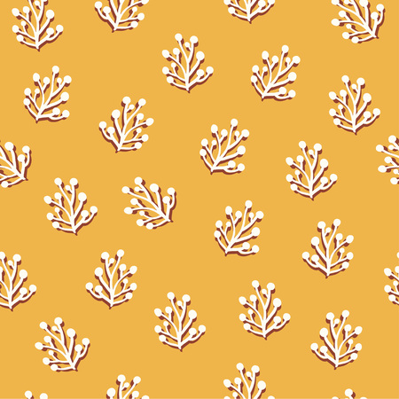 Simple herbal seamless pattern over yellow. Vector illustration Ilustrace