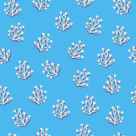 Simple herbal seamless pattern over blue. Vector illustration Фото со стока - 84924472