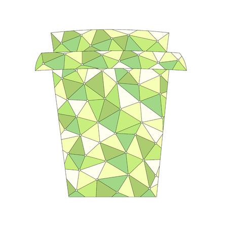 흰색 배경 위에 추상 녹색 패턴으로 컵을 가져가 라. 벡터 일러스트 레이 션 일러스트