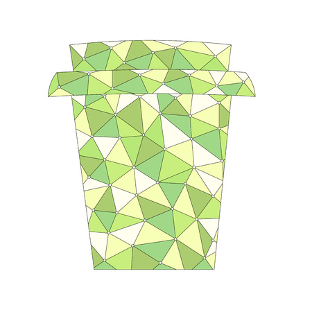 Take away cup with abstract green pattern over white background. Vector illustration 向量圖像