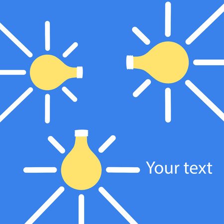 Bright seamless lightbulbs over blue with free space for your text. Vector illustration