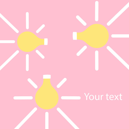 Seamless bright lightbulb with free space for your text. Idea concept. Vector illustration Illustration