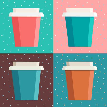 사각형 프레임에서 도트 배경 위에 화려한 커피 컵의 집합입니다. 원활한 벡터 일러스트