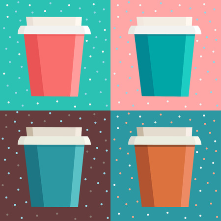 Set of colorful coffee cups over dot background in square frame. Seamless vector illustration Stock Vector - 84924479