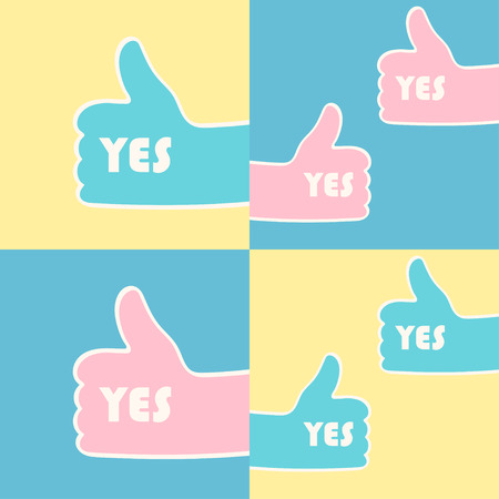 alright: Set of hands giving thumbs up gesture. Square frame. Vector illustration