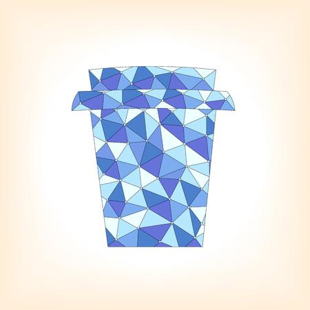 멀리 흰색 배경 위에 추상 파란색 패턴으로 컵을 가져가 라. 벡터 일러스트 레이 션
