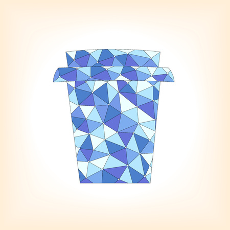 Take away cup with abstract blue pattern over white background. Vector illustration 向量圖像