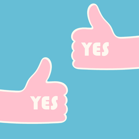 Two hands giving thumbs up over blue. Approval concept. Vector illustration Illustration