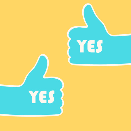 Two hands giving thumbs up over yellow. Approval concept. Vector illustration