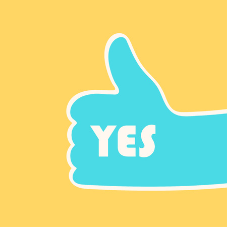 Hand giving thumbs up gesture with YES sign over yellow background. Vector illustration