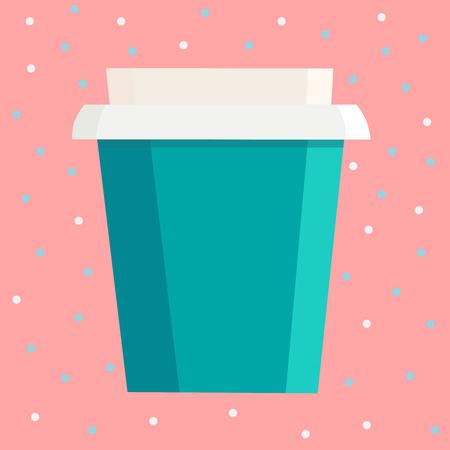 분홍색 점 배경 위에 브랜드 이름을위한 여유 공간이있는 컵을 가져 가십시오. 벡터 일러스트 레이 션
