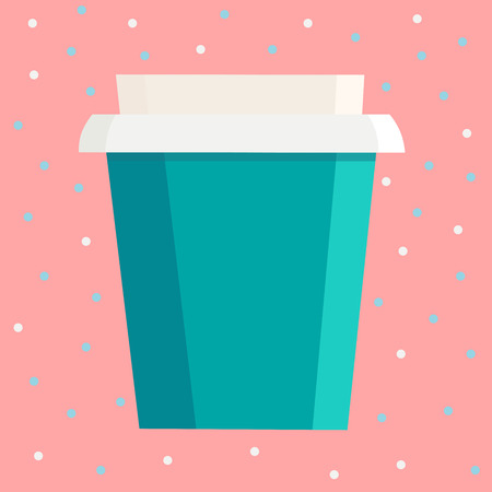 Take away cup with free space for your brand name over pink dot background. Vector illustration Stock Vector - 81224107