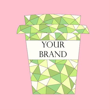 핑크 통해 브랜드 이름에 대 한 여유 공간이 추상적 인 패턴 테이크 아웃 커피 한잔. 벡터 일러스트 레이 션