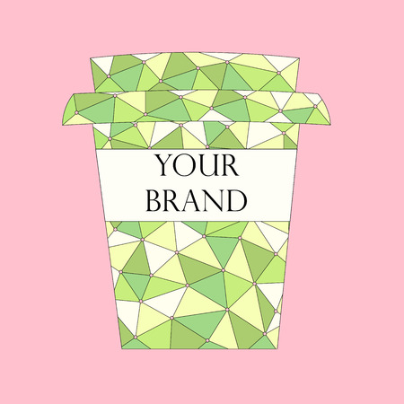 white bacground: Abstract pattern takeaway coffee cup with free space for your brand name over pink. Vector illustration Stock Photo