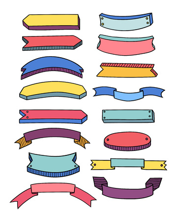 Colorful blank ribbon set over white. Vector illustration