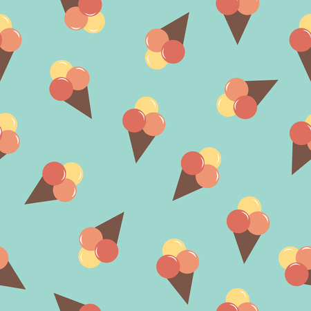 Seamless pattern of a cute ice cream cons over blue background. Vector illustration