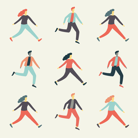 Set of colorful cartoon people silhouettes running over white. Vector illustration Illustration