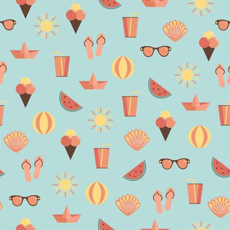 Summer vacation beach concept. Seamless vector pattern over blue