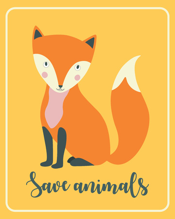 Hand drawn fox with lettering in a frame poster. Save animals concept. Vector illustration