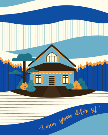 Cute house vector illustration with free space for your text Illustration