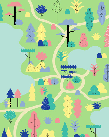 Camping in the wood landscape. Vector illustration