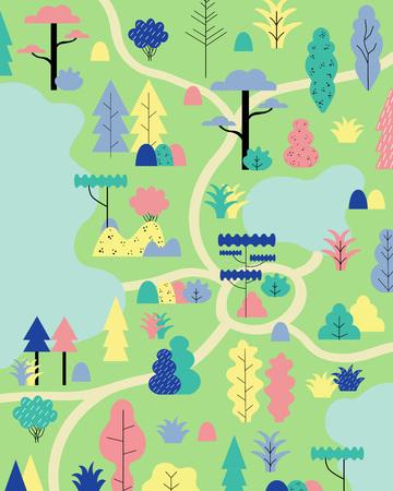 Kamperen in het boslandschap. Vector illustratie