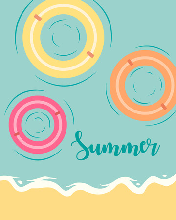 Top view summer view vector illustration with waves on a beach. Summer inscription