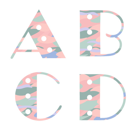 Set of alphabet letters with pastel abstract pattern . A,B,C,D. Vector illustration Illustration