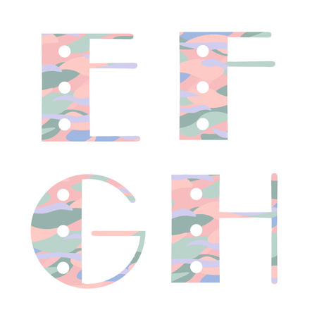 Set of alphabet letters with pastel abstract pattern . E,F,G,H. Vector illustration