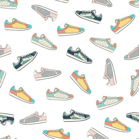 Seamless unisex sneakers pattern. Vector illustration Çizim